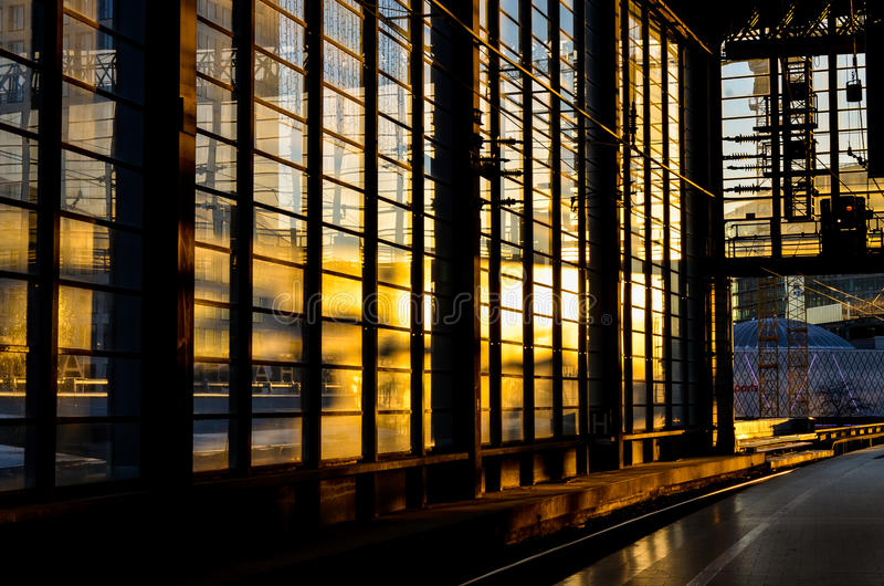 Download Trainstation In Berlin With Evening Sun Stock Photo - Image: 83710970