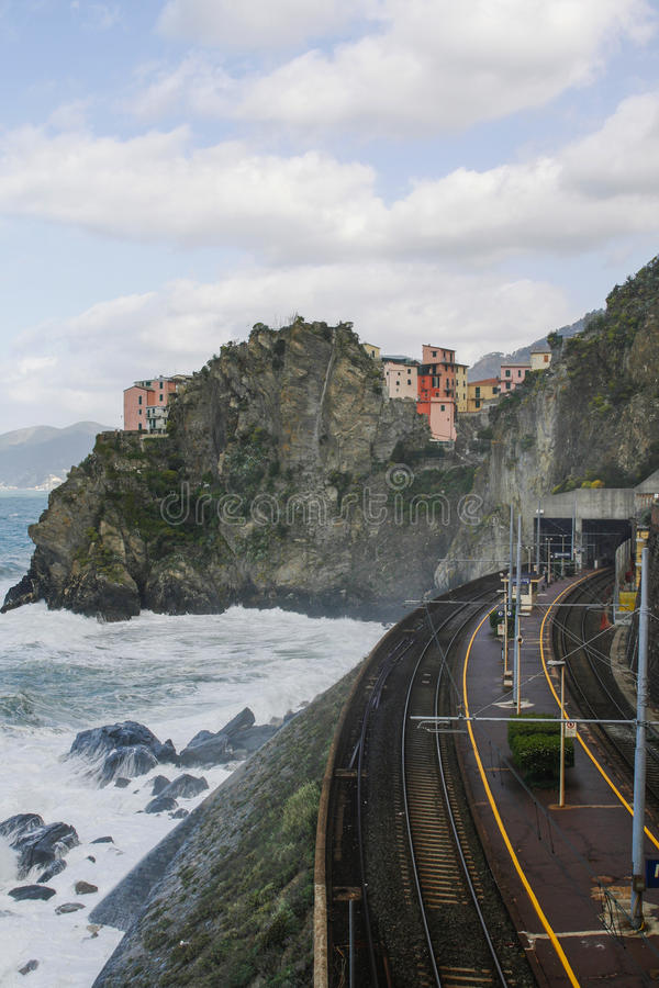 Trainstation dans Manarola Italie photo stock