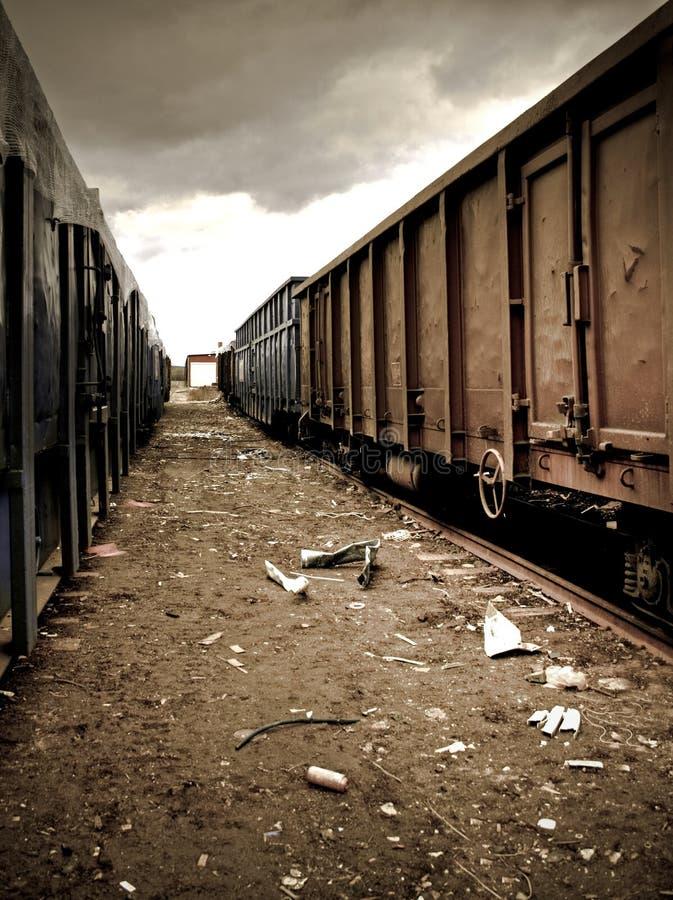 Trainyard abandonado imagens de stock