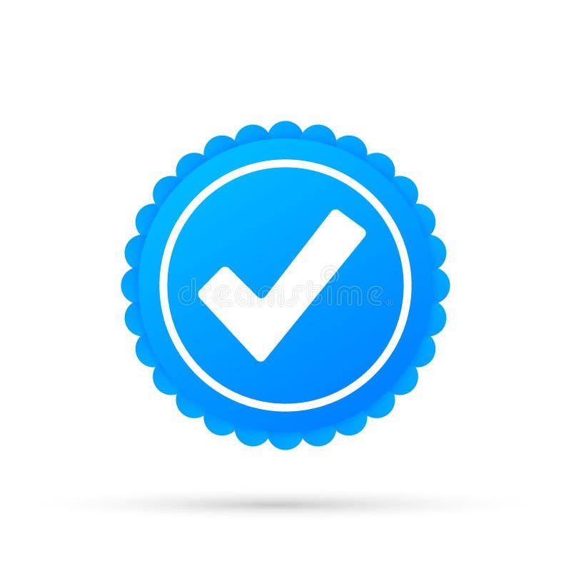 Trait de rep?re Autocollant approuvé bleu d'étoile sur le fond blanc Illustration courante de vecteur illustration stock