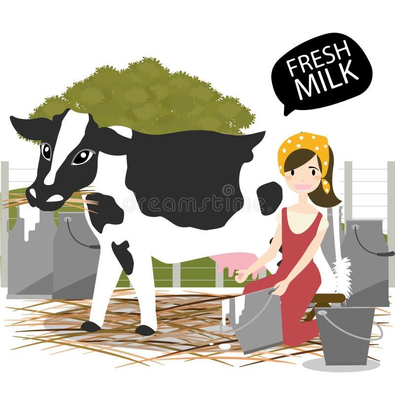 Download Traite d'une vache illustration de vecteur. Illustration du bouteille - 76085075