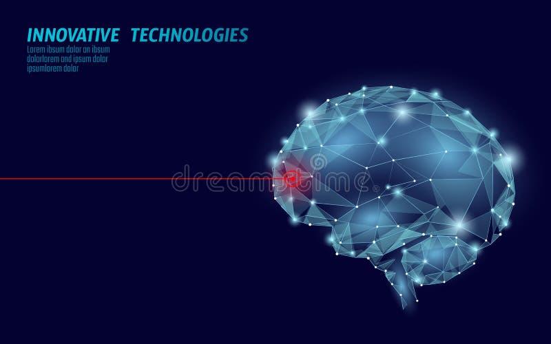 Traitement bas poly 3D de cerveau rendre Santé mentale futée de stimulant humain nootropic de capacité de drogue Médecine cogniti illustration de vecteur