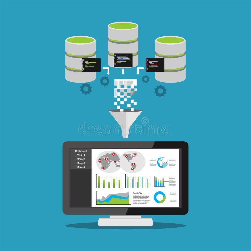 Traitement d'exploitation de données Concept de la veille commerciale Analyse de statistiques commerciales illustration libre de droits