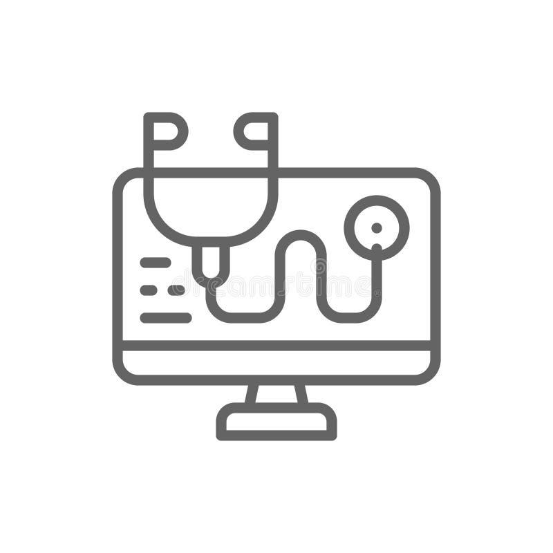 Traitement d'ordinateur, antivirus, ligne en ligne ic?ne de conseiller illustration stock