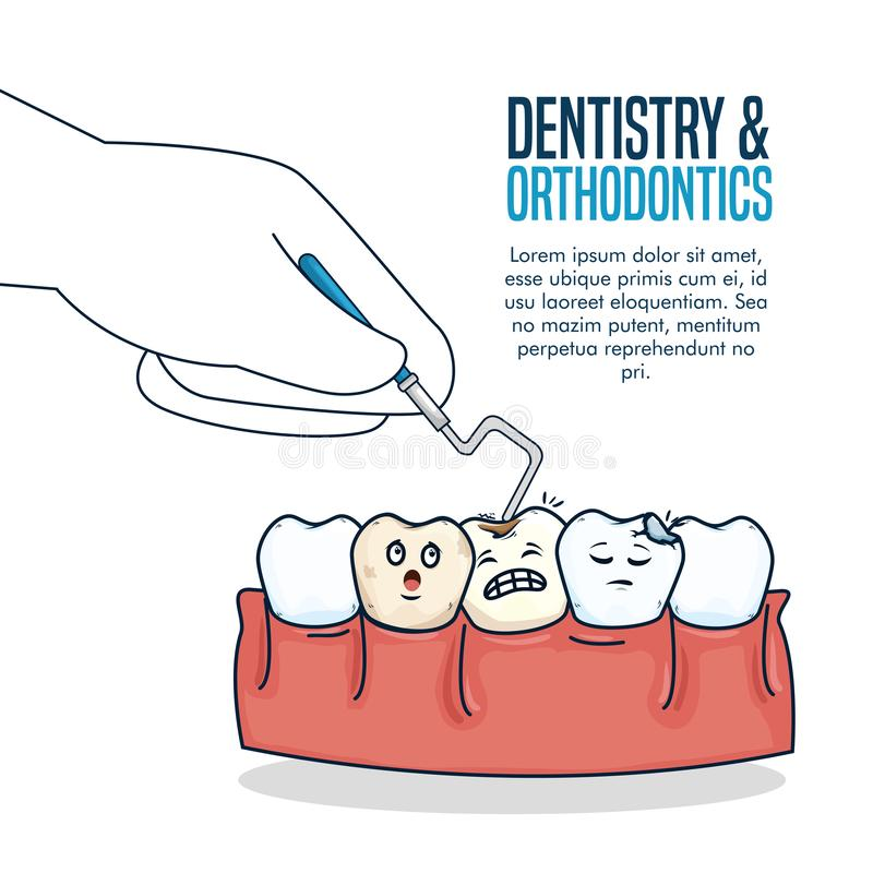 Traitement de soins de santé de dents avec la sonde dentaire illustration stock