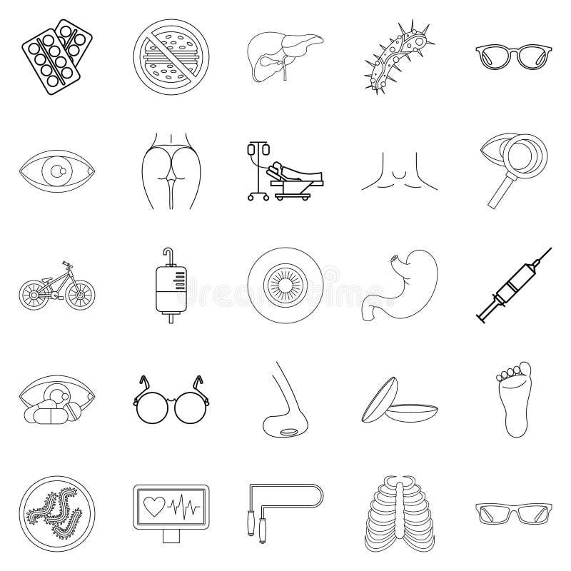 Traitement icônes réglées, style d'ensemble illustration de vecteur