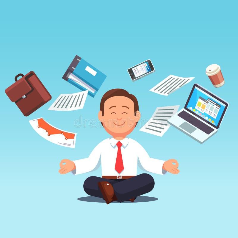 Traitement multitâche d'homme d'affaires, méditer, faisant le yoga illustration libre de droits