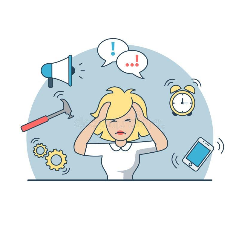 Traitement multitâche plat linéaire de date-butoir de femme d'affaires illustration libre de droits