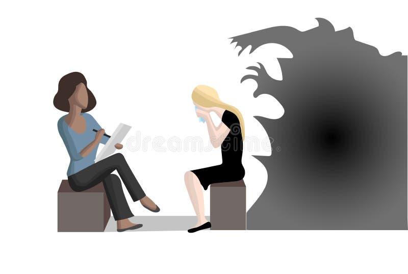 Traiter la dépression et l'inquiétude illustration de vecteur