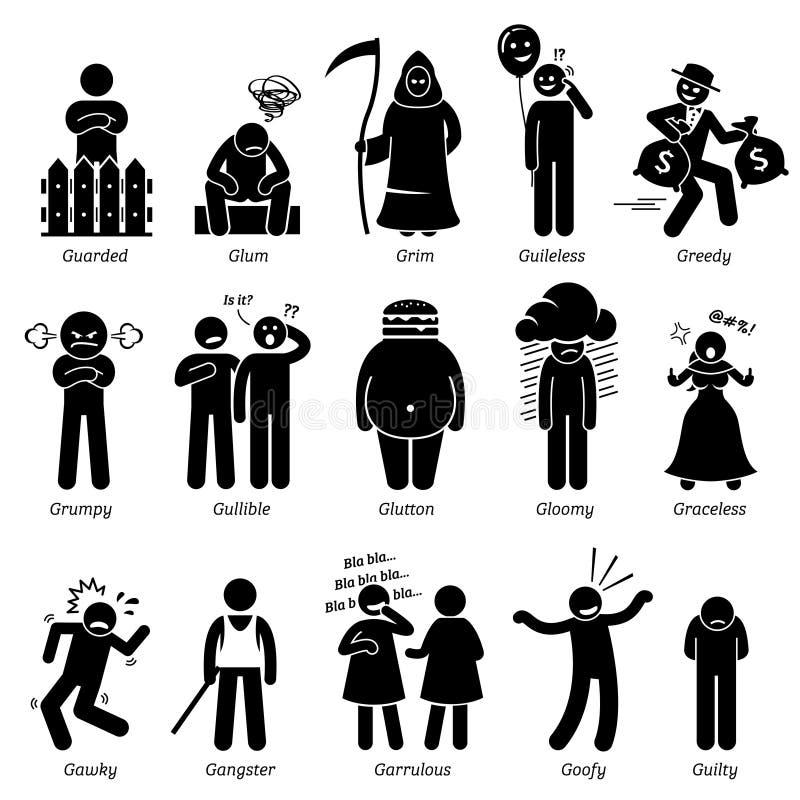 Traits de caractère négatifs de personnalités Clipart illustration libre de droits