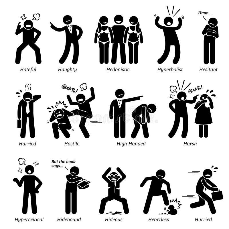 Traits de caractère négatifs de personnalités Clipart illustration de vecteur
