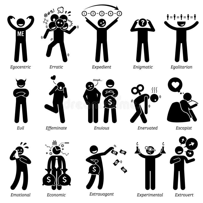 Traits de caractère négatifs et neutres de personnalités Clipart illustration stock