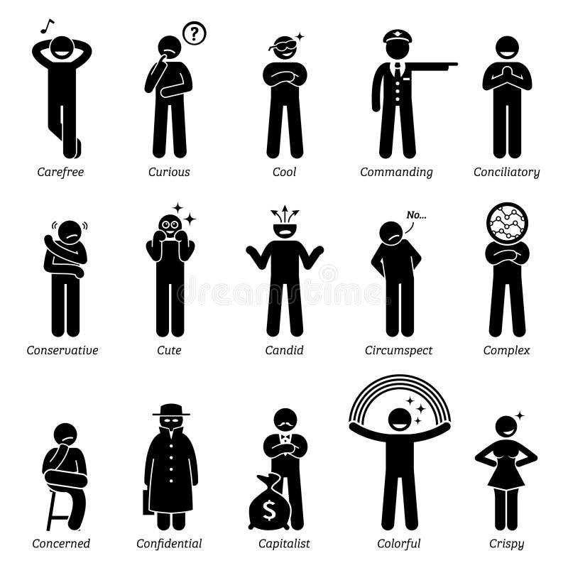 Traits de caractère neutres de personnalités Clipart illustration de vecteur