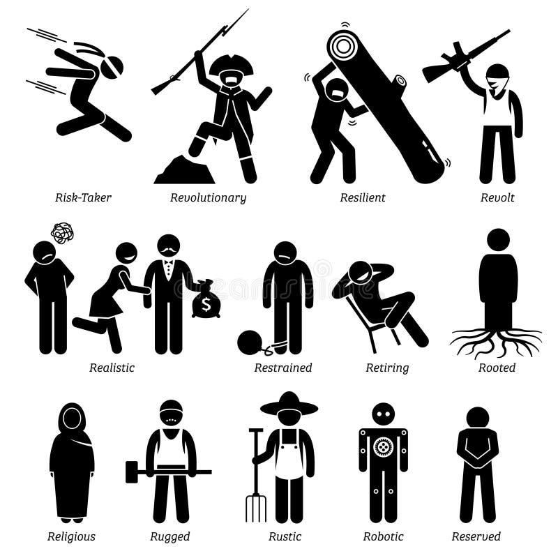 Traits de caractère neutres de personnalités Clipart illustration libre de droits