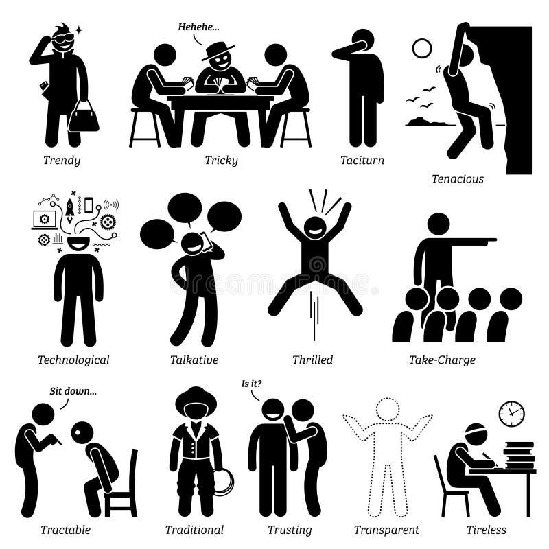 Traits de caractère neutres de personnalités Clipart illustration stock