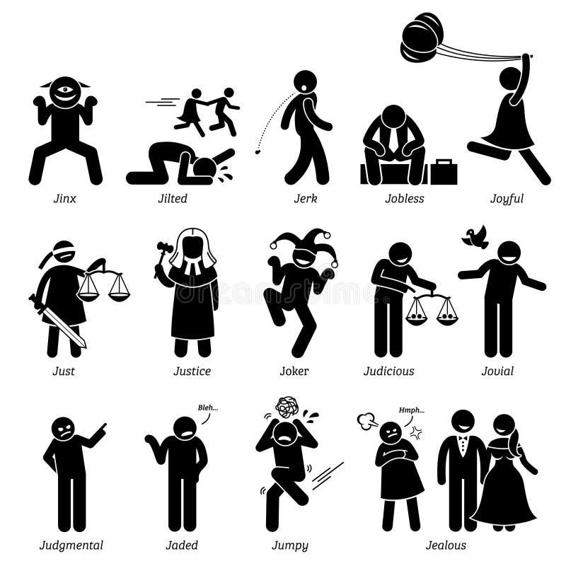 Traits de caractère neutres négatifs positifs de personnalités Clipart illustration stock