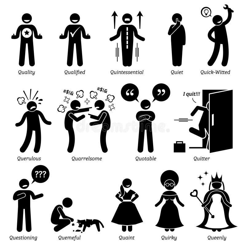 Traits de caractère neutres négatifs positifs de personnalités Clipart illustration de vecteur