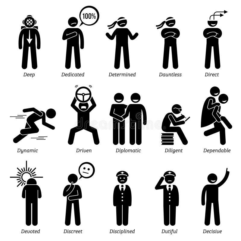 Traits de caractère positifs de personnalités Clipart illustration stock