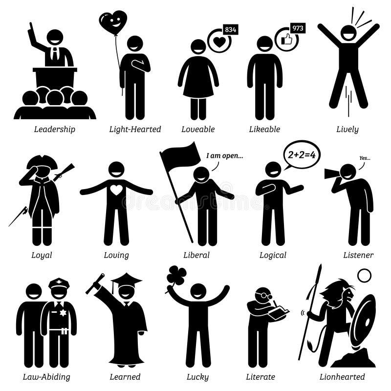 Traits de caractère positifs de personnalités Clipart illustration libre de droits