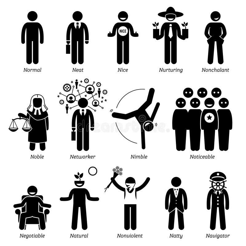 Traits de caractère positifs de personnalités Clipart illustration de vecteur