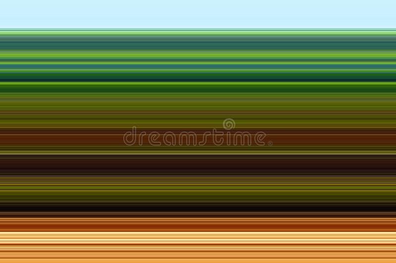 Traits horizontaux abstraits fond bleus, verts, d'orange, noirs et bruns illustration libre de droits