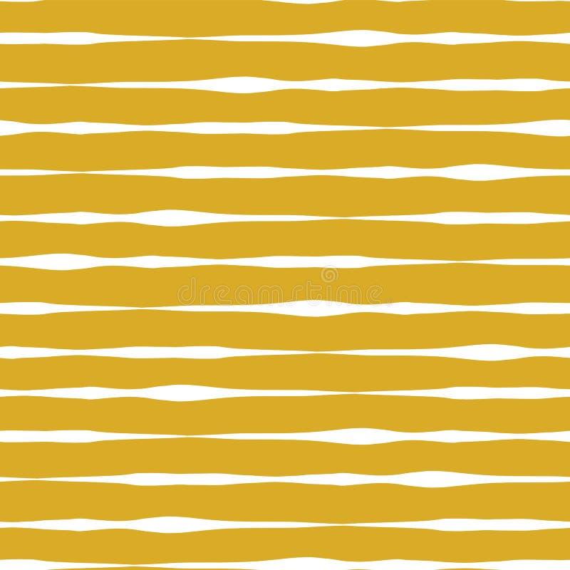 Traits horizontaux fond sans couture de vecteur Lignes blanches sur le fond d'or Conception abstraite de configuration Lignes géo illustration libre de droits