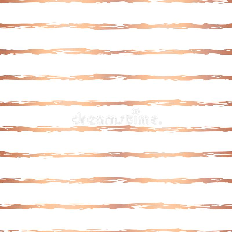 Traits horizontaux modèle sans couture de course tirée par la main de brosse d'aluminium de Rose Gold de vecteur Rayures irréguli illustration stock