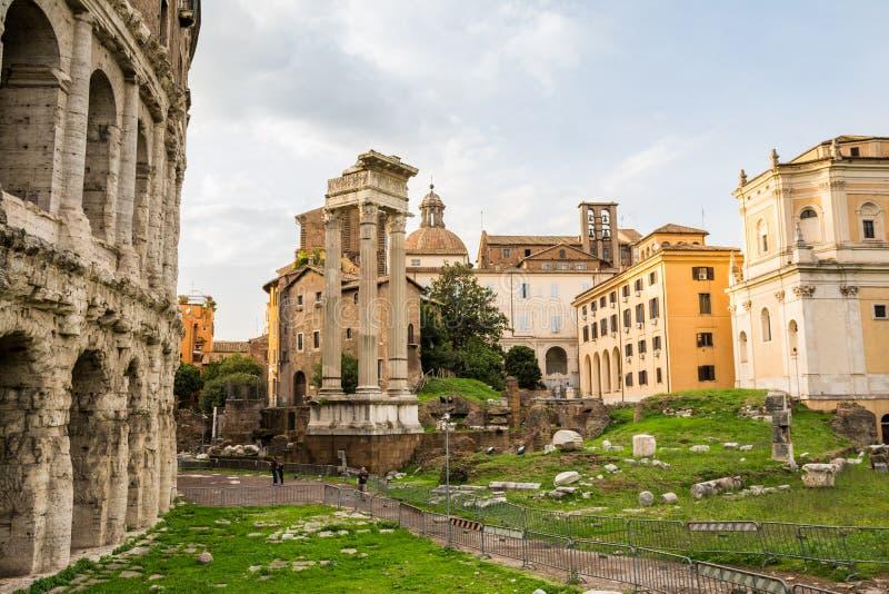 Trajan forum ruiny i capitoline wzgórze zdjęcie stock