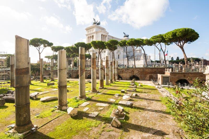 Trajan forum ruiny i capitoline wzgórze obraz stock
