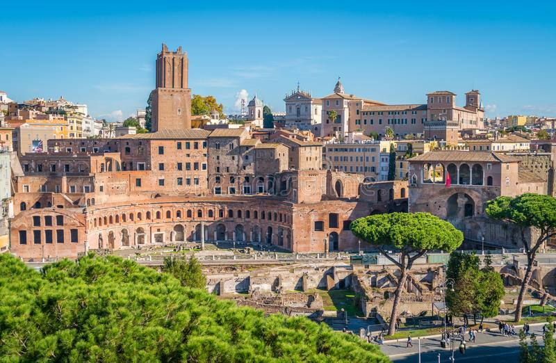 Trajan ` s市场下午在罗马,意大利 免版税库存图片