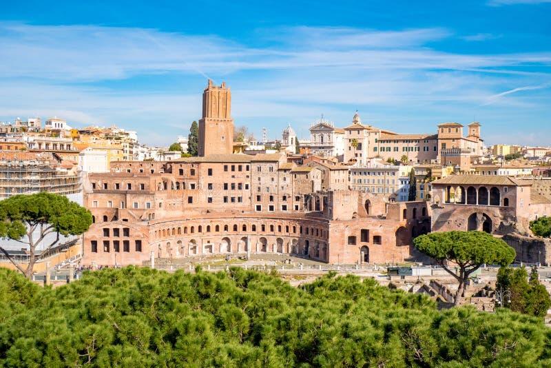 Trajan ` s市场鸟瞰图在罗马,意大利 免版税库存照片
