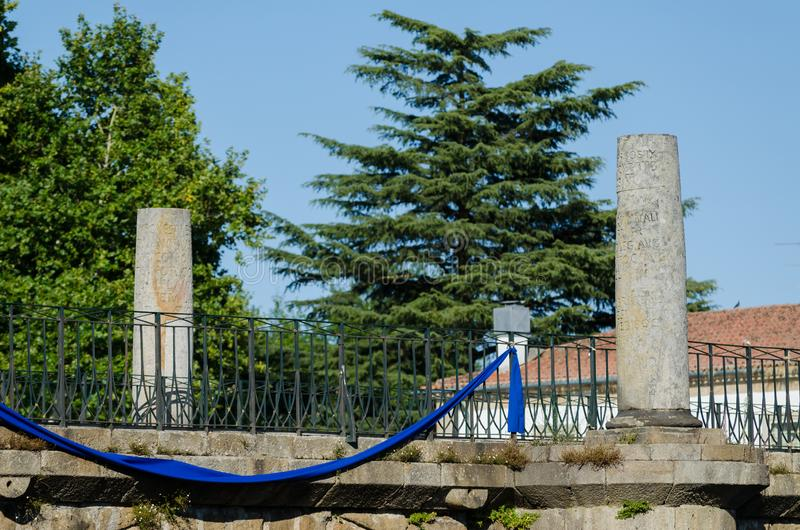 Chaves Roman bridge, Portugal. Trajan´s bridge in Chaves. nBuilt by the Romans in the 1st century stock photography