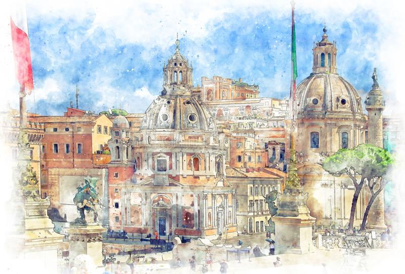 Trajan`s Column and Santa Maria di Loreto, Rome, Italy vector illustration