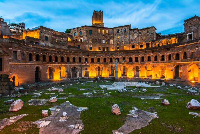 Trajan's Market, in the night stock photos