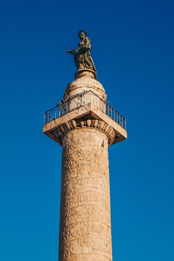 Trajan ` s Szpaltowy Colonna Traiana w Rzym, Włochy Upamiętnia R obraz stock