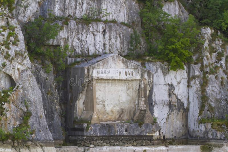 Trajans Tablet in Iron Gate. Trajan`s Tablet in Serbia in the Iron Gate gorges on the Danube River between Serbia and Romania stock photos