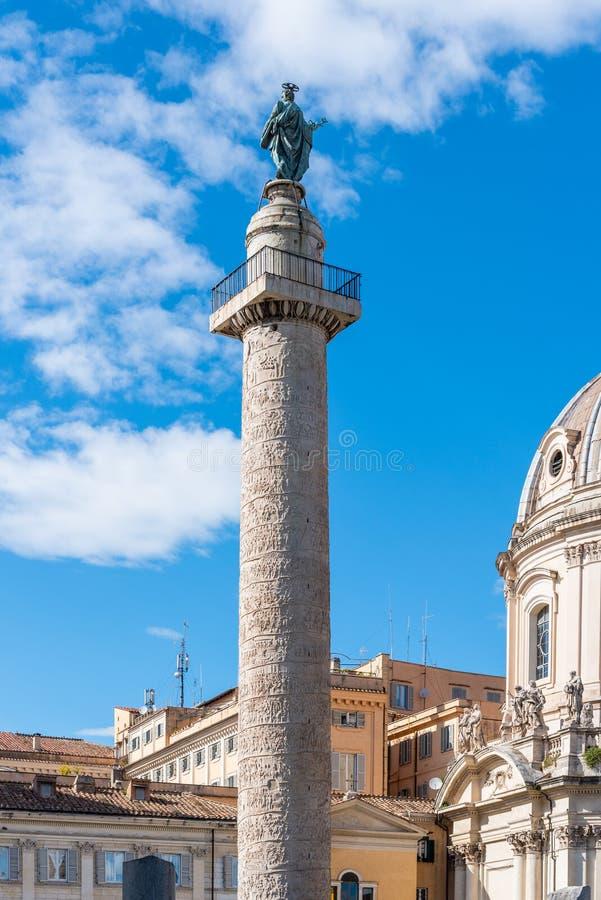 Trajanssäule, italienisch: Colonna Traiana, Rom in Italien stockbild
