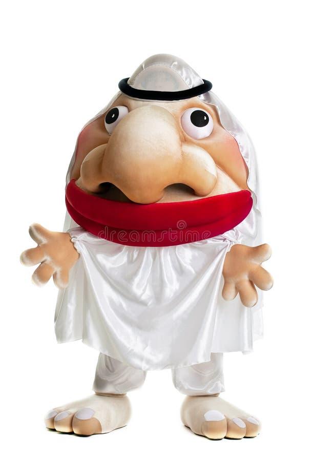 Traje árabe engraçado da mascote fotos de stock