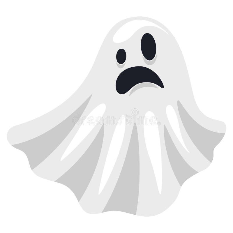 Traje assustador branco de Ghost, silhueta de voo assustador de Dia das Bruxas ilustração stock