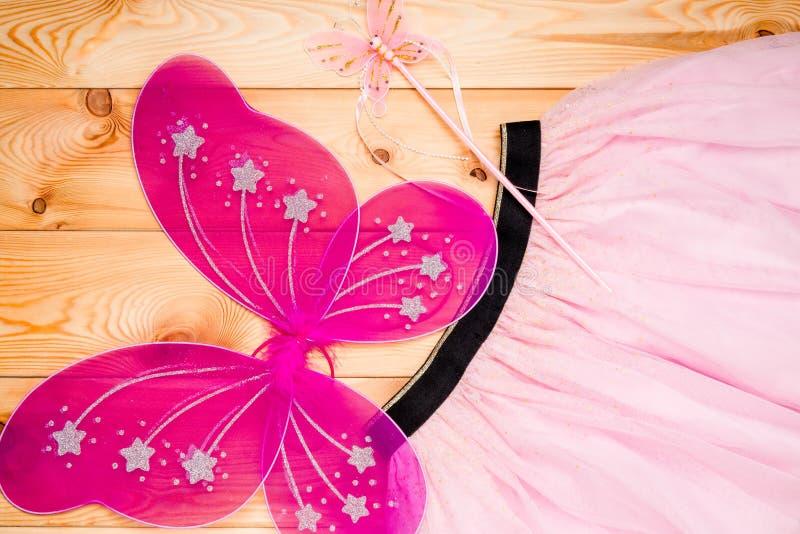 Traje bonito de uma princesa da borboleta para uma moça foto de stock