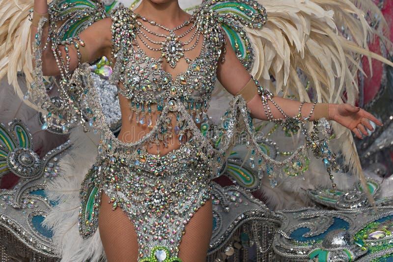 Traje colorido brilhante do carnaval da menina bonita fotos de stock