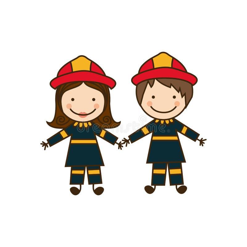 traje colorido dos sapadores-bombeiros dos pares da caricatura ilustração royalty free