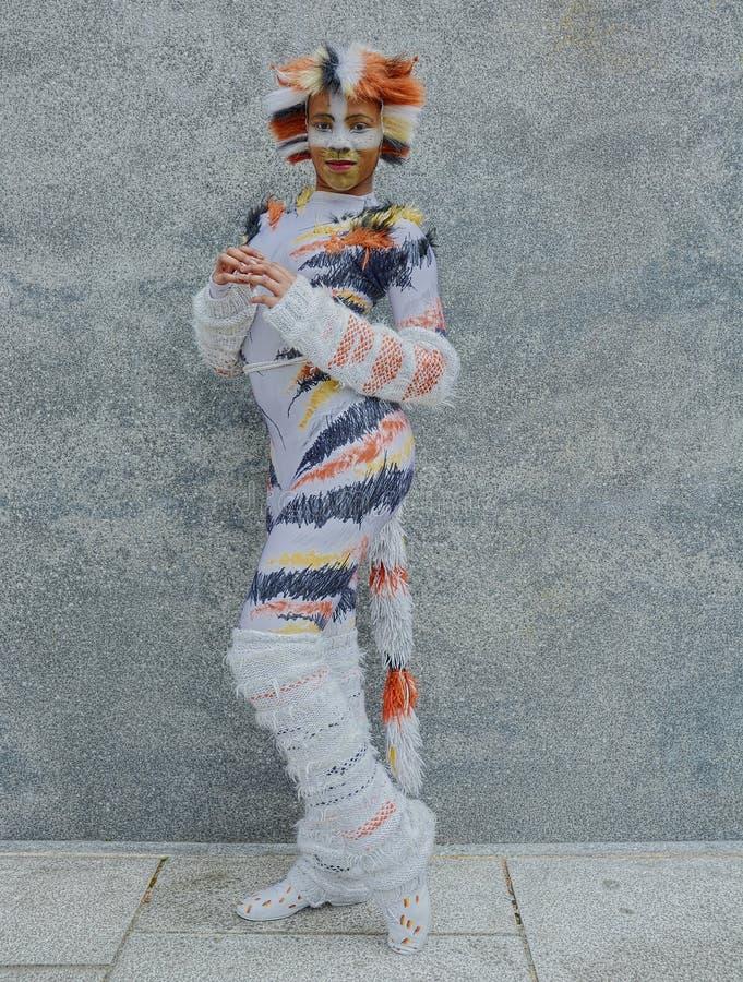 Traje cosplay del gato de Rumpleteazer foto de archivo libre de regalías