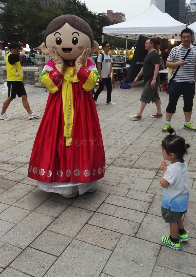 Traje cosplay no vestido tradicional coreano Hanbok imagens de stock royalty free