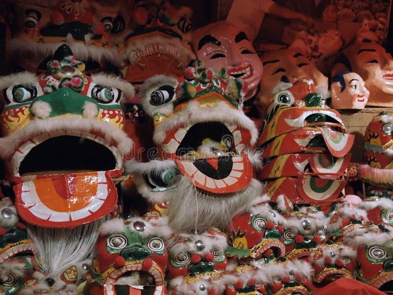 Traje da dança de leão de Hong Kong fotos de stock