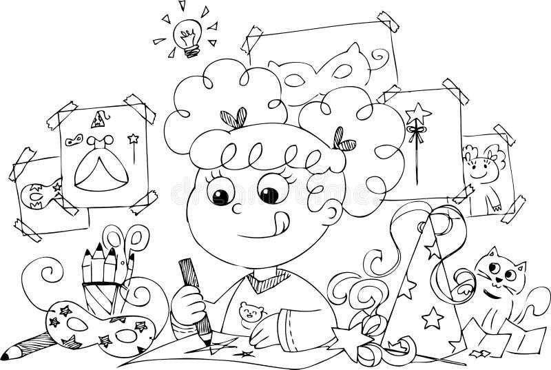 Traje da princesa do desenho da menina ilustração do vetor