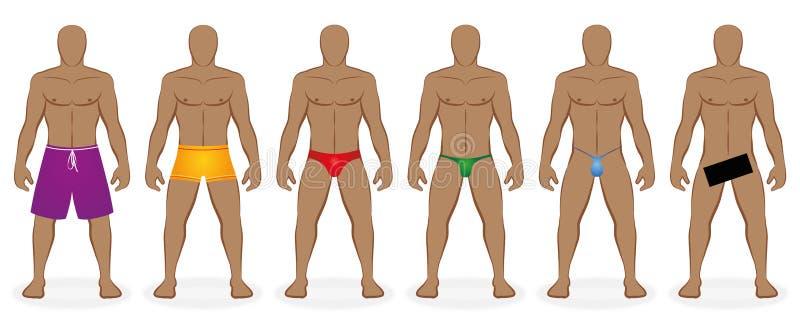 Traje de baño que baña a los hombres del código de vestimenta desnudos stock de ilustración