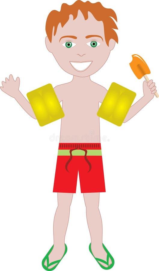 Traje de baño rojo del muchacho del pelo ilustración del vector