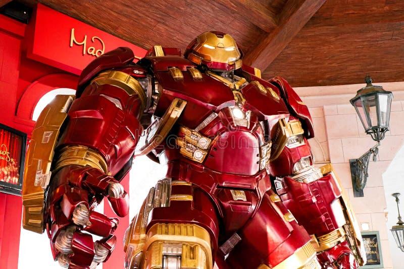 Traje de Buster Iron Man do casco no museu da senhora Tussauds imagem de stock royalty free