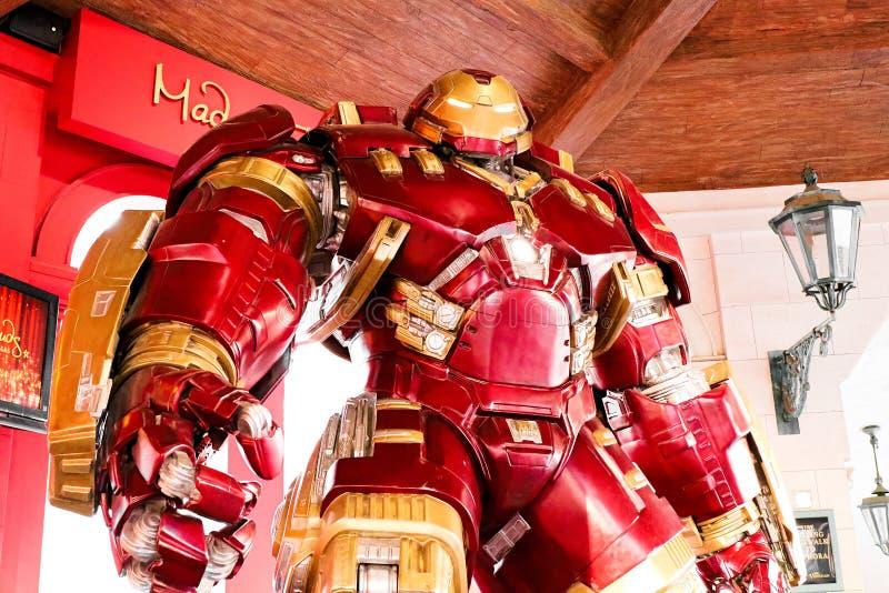 Traje de Buster Iron Man do casco no museu da senhora Tussauds foto de stock royalty free